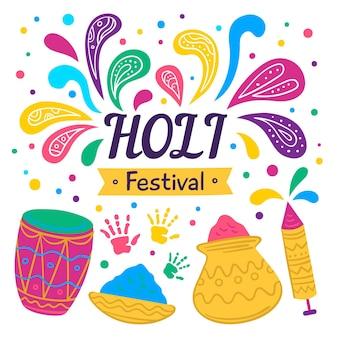 손으로 그린 holi 축제 그림