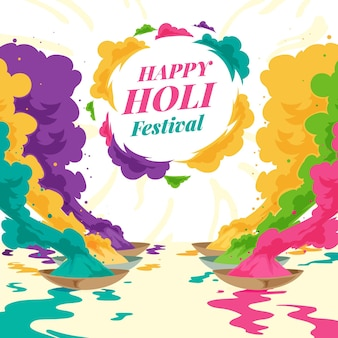 Hand drawn holi festival illustration