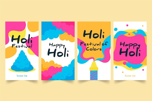Hand-drawn holi festival instagram stories collection