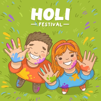 Hand drawn holi festival people illustrations