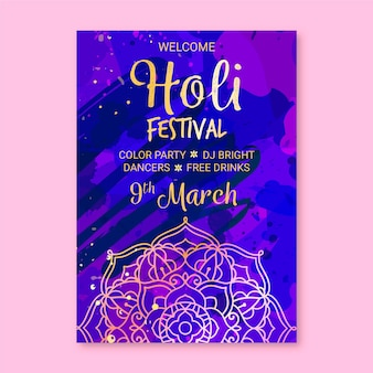 Hand drawn holi festival poster template
