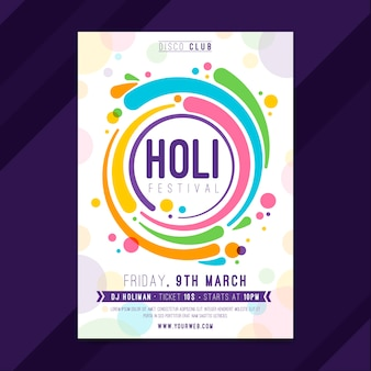 Hand drawn holi festival poster