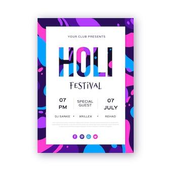 Рисованный шаблон вертикального плаката фестиваля холи