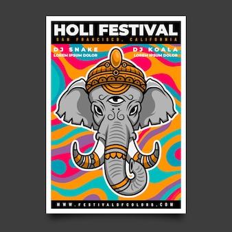 Modello di poster verticale festival di holi disegnato a mano