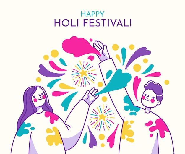 Festival di holi disegnato a mano con persone e colori