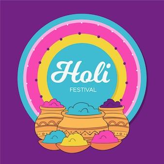 손으로 그린 holi 축제
