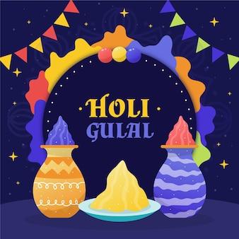 손으로 그린 holi gulal 그림