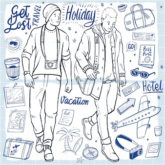 Hand drawn holiday men's outfit vacation illustration