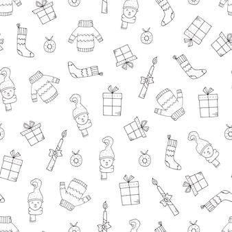 Hand drawn holiday pattern with christmas elements.