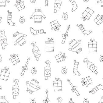 クリスマスの要素と手描きの休日のパターン。