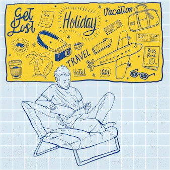 Hand drawn holiday travel vacation cartoon illustration