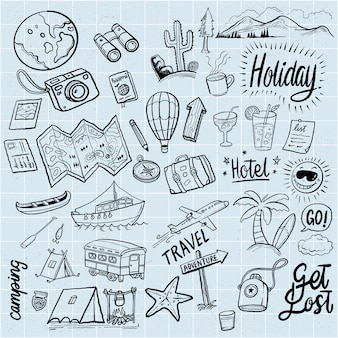 Hand drawn holidays doodles elements