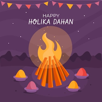 Hand-drawn holika dahan illustration with campfire and garlands