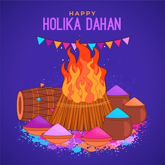 Hand drawn holika dahan illustration