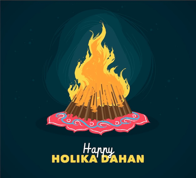 Hand-drawn holika dahan illustration