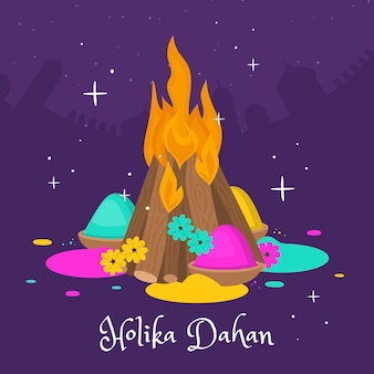 Hand drawn holika dahan