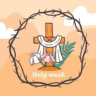 Concetto di settimana santa disegnato a mano