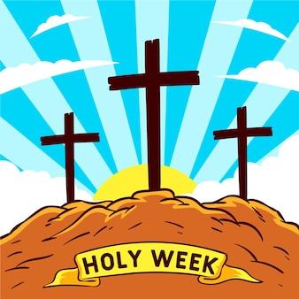 手描きの聖週間のコンセプト