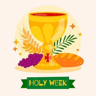 Concetto di settimana santa disegnata a mano