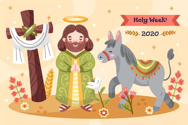 Hand drawn holy week concept