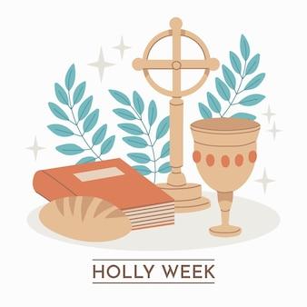 十字架とパンと手描きの聖週間のイラスト