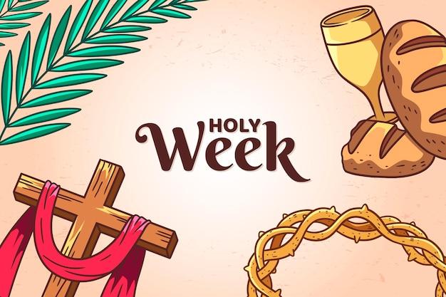 十字架とイバラの冠と手描きの聖週間のイラスト
