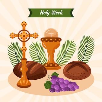ワインとパンと手描きの聖週間のイラスト