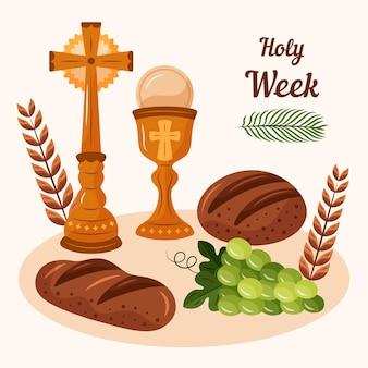 ワインと十字架で手描きの聖週間のイラスト