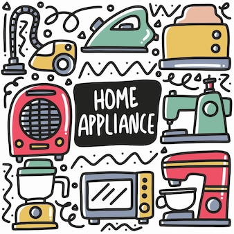 Hand drawn home appliance doodle set with icons and design elements