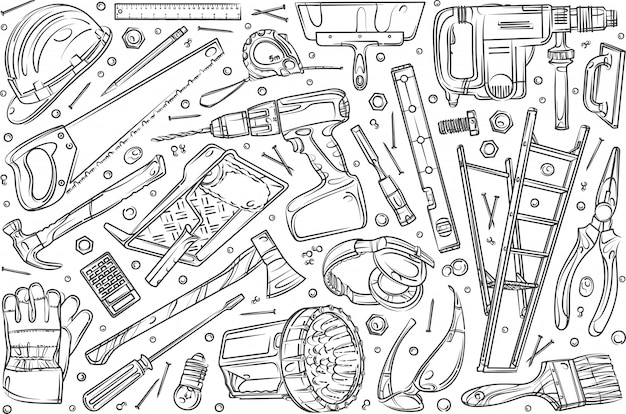 Hand drawn home repair set doodle  background
