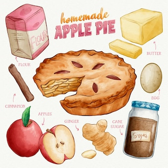 Hand drawn homemade apple pie recipe