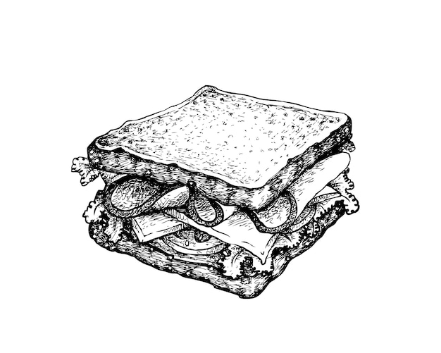 Hand drawn of homemade ham sandwich on white background