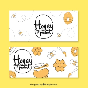 Hand drawn honey banners
