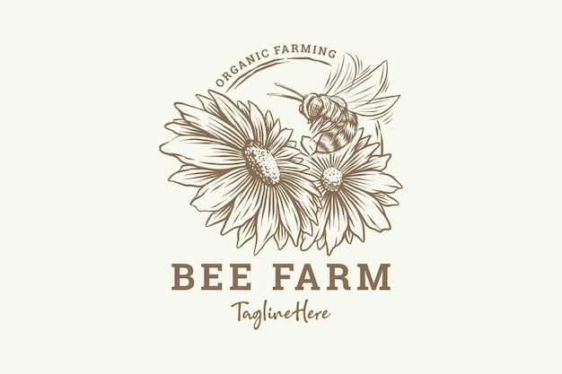 Рука нарисованные медоносная пчела с цветами
