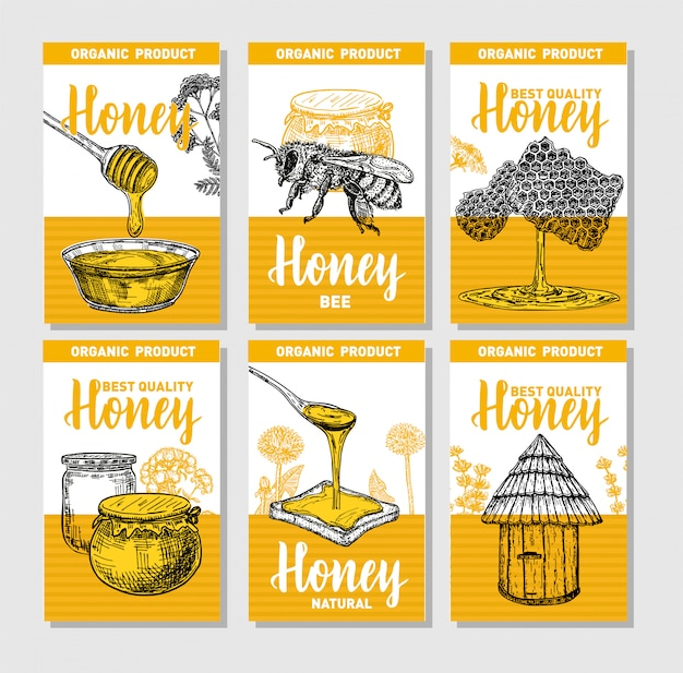 手描きの蜂蜜ポスターセット。ビンテージスタイルをスケッチします。手描きイラスト6かわいいカードテンプレートのコレクション。カードのデザインテンプレートです。レトロな背景。