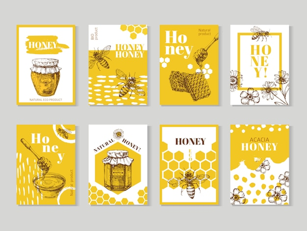 Hand drawn honey posters. natural honey packaging with bee, honeycomb and hive vector design
