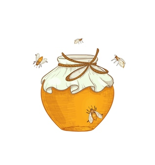 Hand drawn honey production illustration a jar of honey with bees flying around isolated
