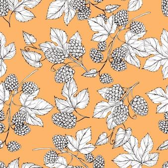 Hand drawn hop and foliage seamless pattern