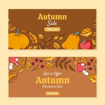 Hand drawn horizontal autumn sale banners set