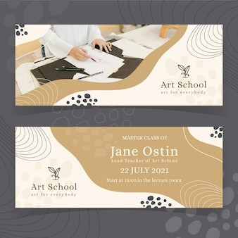 Hand drawn horizontal banners design