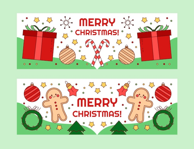 Hand drawn horizontal christmas banners set