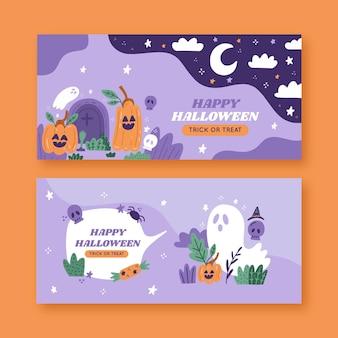 Hand drawn horizontal halloween banners set