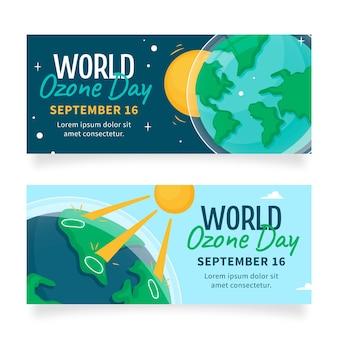 Набор рисованной горизонтальных баннеров всемирного дня озона
