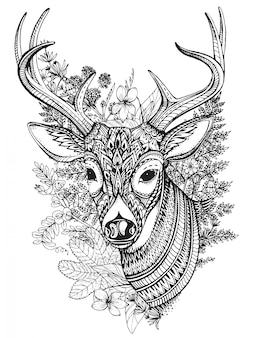 Hand drawn horned deer with  high details ornament