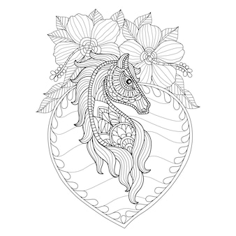 Hand drawn horse and hibiscus flowers