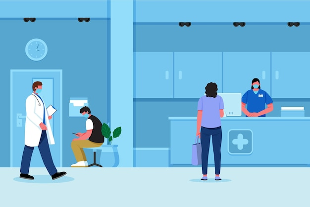 Hand drawn hospital reception scene with people wearing face masks