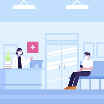 Scena di accoglienza ospedaliera disegnata a mano con persone che indossano maschere mediche