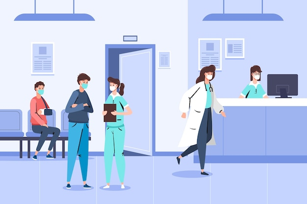 Hand drawn hospital reception scene with people wearing medical masks