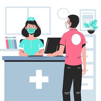 Scena di accoglienza ospedaliera disegnata a mano