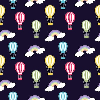 Hand drawn hot air balloon in the sky pattern